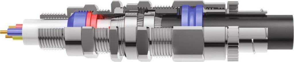 E1FCNF Двойной Компрессионный Взрывозащищенный Кабельный Ввод 3D Схема