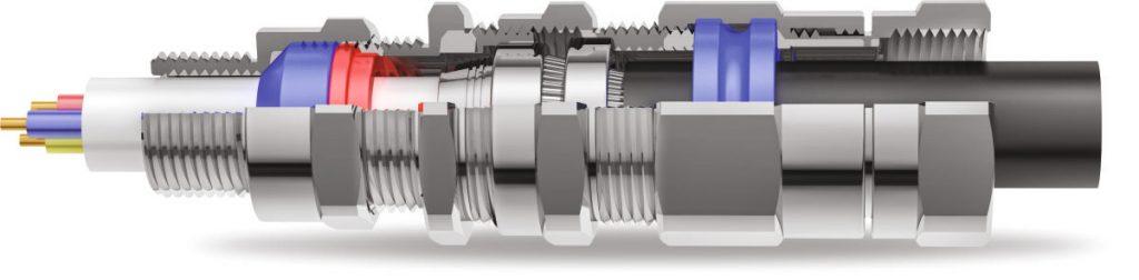 E1FPF Двойной Компрессионный Кабельный Ввод 3D Схема
