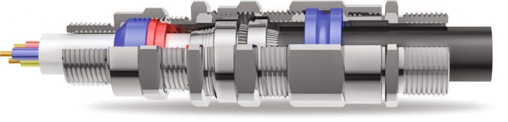 E1FPM Двойной Компрессионный Кабельный Ввод 3D Схема